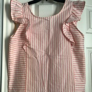 WORN ONLY ONCE FLUTTER SLEEVE STRIPED TOP